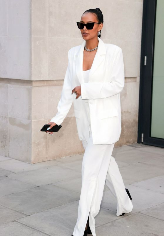 Maya Jama in a White Trouser Suit 04/20/2021