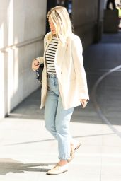 Mollie King in Striped Top Denim Trousers and Cream Blazer 04/24/2021