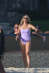 Molly Sims in a Lavender Swimsuit at the Beach in Cabo San Lucas 04/05/2021