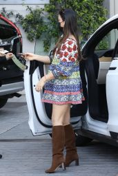 Olivia Munn in a Colorful Dress at the Sunset Towers in West Hollywood 04/28/2021