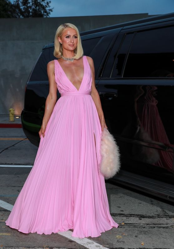 Paris Hilton in a Pink Gown by Givenchy at Craigs Restaurant in West Hollywood 04/21/2021