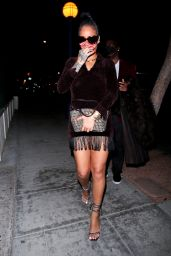 Rihanna in a Brown Fringe Mini Dress and Strappy Heels at Delilah in West Hollywood 04/11/2021