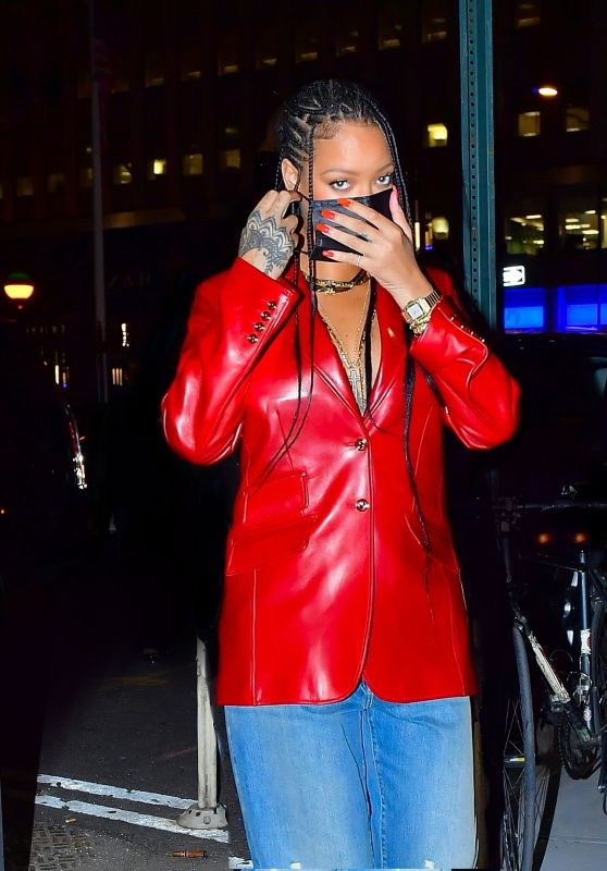 Rihanna in a Red Leather Blazer and Baggy Denim - Nobu in NY 04/06/2021