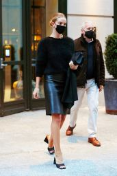 Rosie Huntington-Whiteley in a Black Leather Skirt in New York 04/13/2021