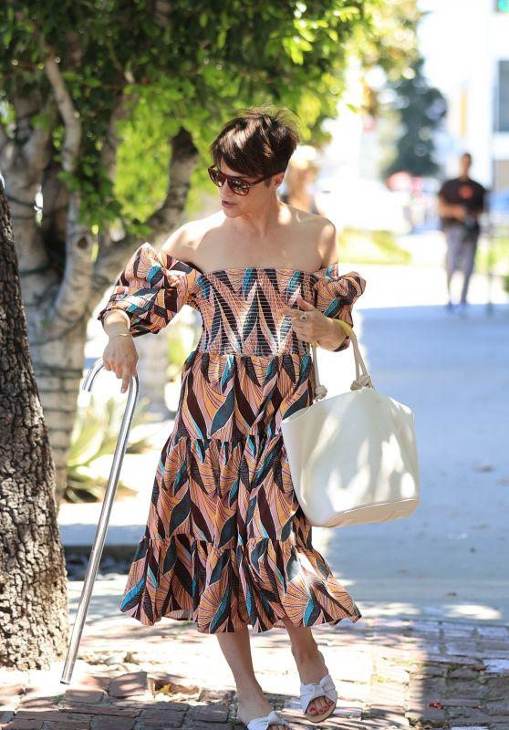 Selma Blair in Colorful Dress 04/29/2021