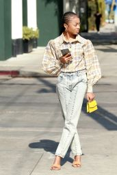 Skai Jackson in Louis Vuitton Ensemble - Melrose Street in West Hollywood 04/15/2021