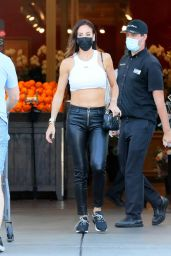 Vajna Timea in a White Crop Top and Leather Pants at Bristol Farms in West Hollywood 04/19/2021