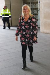 Vanessa Feltz in Floral Summer Dress at BBC Studios in London 04/14/2021