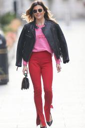 Zoe Hardman in Skinny Fit Trousers and Biker Jacket 04/11/2021