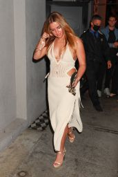 Addison Rae in a Plunging Dress at Craig's in West Hollywood 05/30/2021