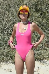 Alessandra Ambrosio in a Swimsuit - Playing Volleyball on the Beach in Santa Monica 05/23/2021