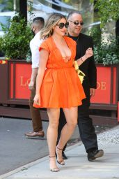 Amanda Frances in a Bright Orange Dress - NYC 05/20/2021