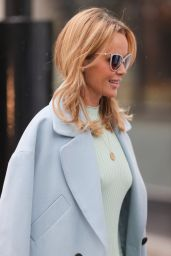 Amanda Holden in a Fitted Mint Green Dress and Pale Blue Coat 05/13/2021