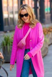 Amanda Holden in a Pink Coat and Glared Denim 05/07/2021
