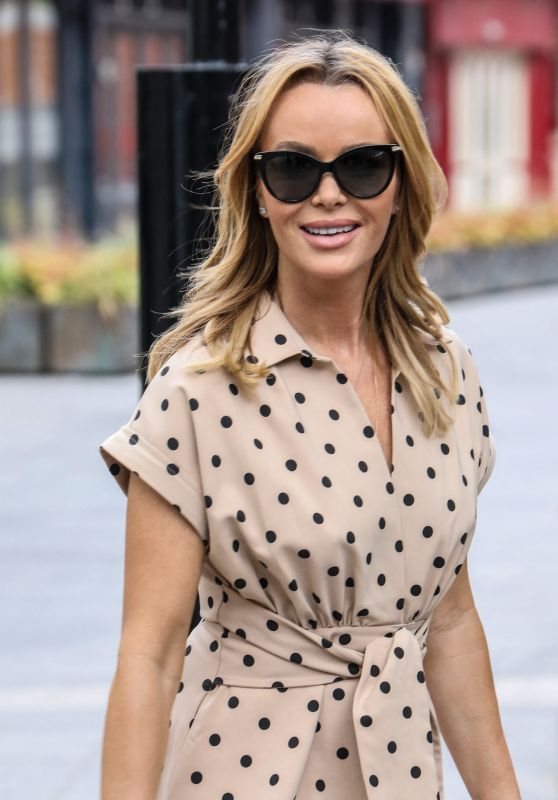 Amanda Holden in Beige and Black Polka Dot Dress 05/14/2021