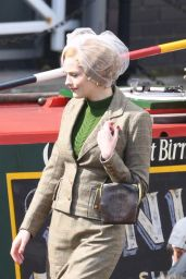 "Amber Anderson - Filming ""Peaky Blinders"" Season 6 in Manchester 05/05/2021"