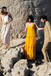 Ana de Armas in a Yellow Maxi Dress - Filming Advertisement in Mallorca 05/18/2021