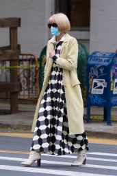 Anna Wintour in a Patterned Dress and Snakeskin Leather Boots - Manhattan 05/24/2021