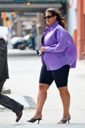 Ashley Graham in a Purple Button-up and Legging Shorts - New York 05/24/2021
