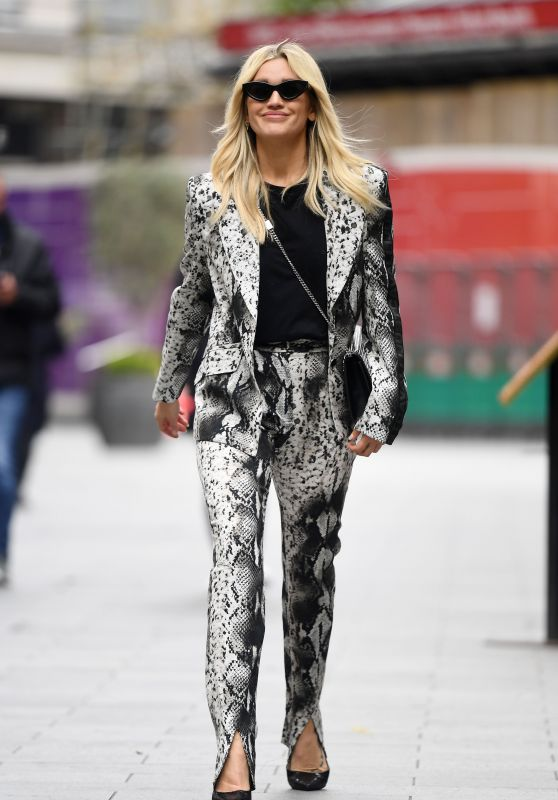 Ashley Roberts in a Snakeskin Print Suit and Black Heels - London 05/26/2021