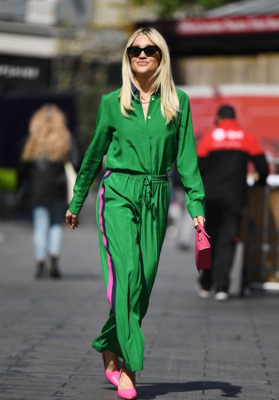 Ashley Roberts in Bright Green Shirt and Trousers 05/19/2021