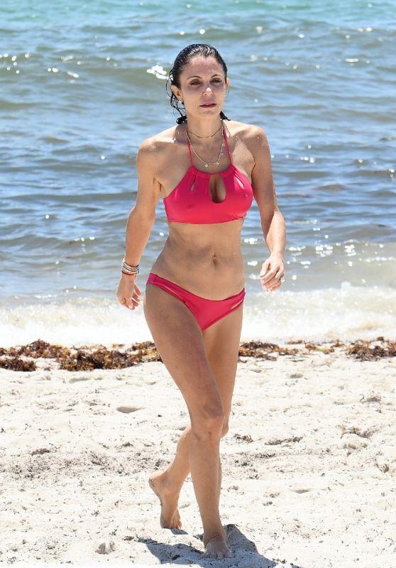 Bethenny Frankel in a Pink Bikini - Beach in Miami 05/29/2021