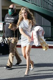 """Chrishell Stause Leggy in a Short Silver Dress - """"Selling Sunset"""" Filming in West Hollywood 05/21/2021"""