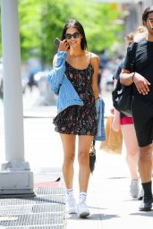Daiane Sodre in a Denim Jacket, Patterned Mini Dress and White Trainers - NYC 05/27/2021