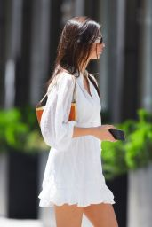 Emily Ratajkowski in a White Mini Dress - NYC 05/13/2021