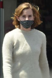 Emma Watson in Pyjama-Style Checked Pants - Los Angeles 05/13/2021