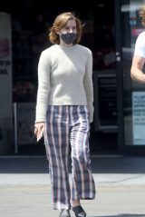 Emma Watson in Pyjama-Style Checked Pants - Los Angeles 05/13/2021