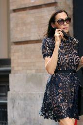 Famke Janssen in a Black Faux Dress and Flats - NYC 05/21/2021