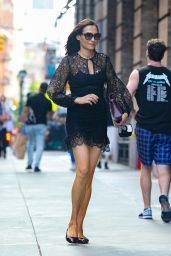 Famke Janssen Wears Black Lace Dress - NYC 05/25/2021