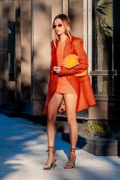 Hailey Rhode Bieber in a Bright Orange Dress - New York 05/15/2021
