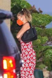 Hailey Rhode Bieber in a Red Floral Print Dress at Nobu in Malibu 05/05/2021