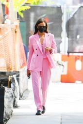 Irina Shayk in a Pastel Pink Suit - New York 05/14/2021