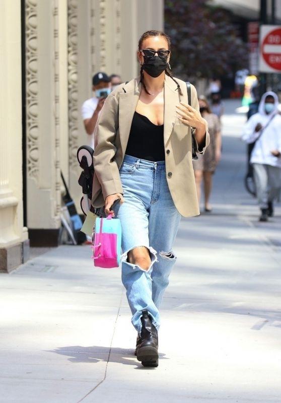 Irina Shayk in Distressed Jeans in New York 05/18/2021