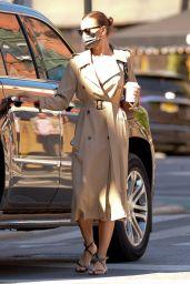 Irina Shayk Wearing a Camel Trench Coat in New York 05/12/2021