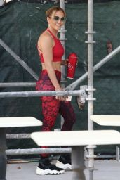 Jennifer Lopez in a Red Gym Ready Outfit - Miami 05/21/2021