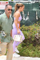 Jennifer Lopez in Purple Sports Bra and Leggings - Miami 05/27/2021