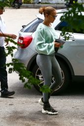 Jennifer Lopez in Silver Leggings and a Cropped Sweater - Miami 05/13/2021