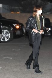 Kaia Gerber in a Leather Jacket and Black Flare Pants at Matsuhisa in Beverly Hills 05/17/2021