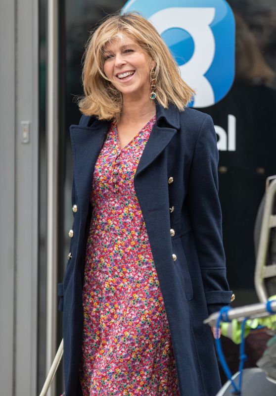 Kate Garraway in a Floral Dress - London 05/04/2021