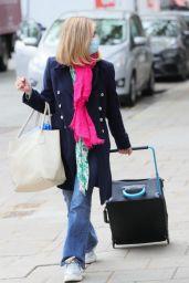 Kate Garraway in Wide Bottom Denim and Pink Scarf in London 05/06/2021