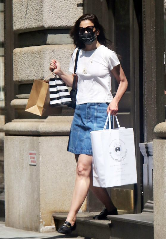 Katie Holmes in a Jean Skirt - Shopping in NYC 05/21/2021