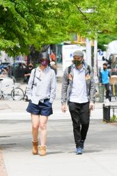 Katie Holmes in a Navy Bue Shorts and Uggs 05/04/2021