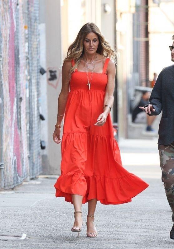 Kelly Bensimon in an Orange Dress - NYC 05/20/2021