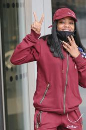 Lady Leshurr in a Burgundy Tracksuit - London 05/15/2021
