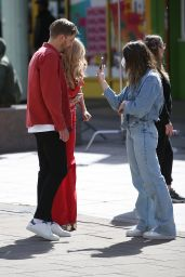 """Laura Whitmore in Red Jumpsuit  - Filming """"Love Island"""" in London 05/15/2021"""