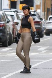 Lily Allen Wears Sports Bra and Boxing Gloves - London 04/30/2021